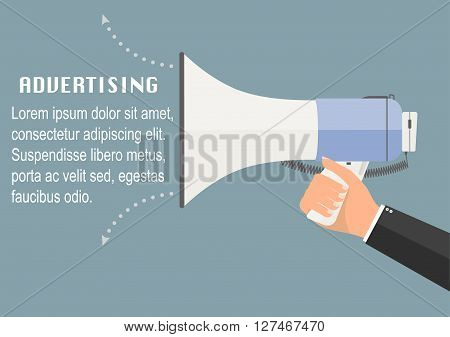 Businessman hand holding megaphone for advertising. Vector illustration business advertisement concept.