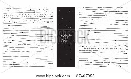 Set of 60 thin lines made with hand and liquid ink freehand ornated with loops flourishes nib blobs. Vector black and white illustration good for creative designs drawn with imperfections.