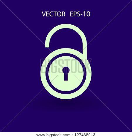 Flat icon of unlock
