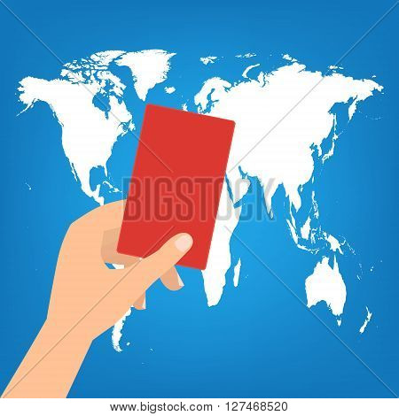 Human hand hold a red card on world map background. Vector illustration boycott concept.