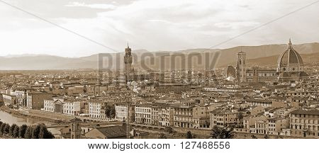 Wide View Of The City Of Florence In Italy With The Cathedral
