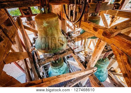 Interior Of The Bell Tower And The Bells Of The Church Of St. Anastasia In Zadar