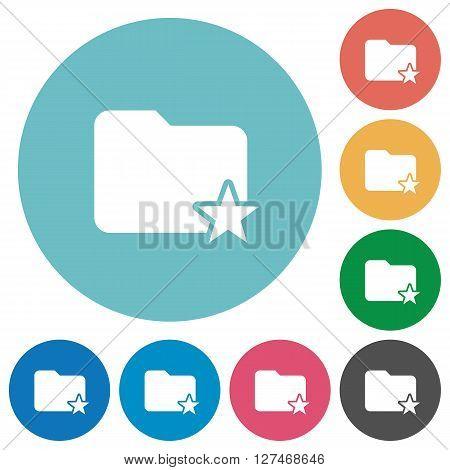 Flat rank folder icon set on round color background.