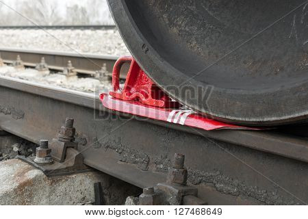 Train shoe propped wheel train. Train shoe propped wheel train.