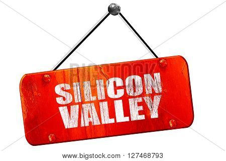 silicon valley, 3D rendering, red grunge vintage sign