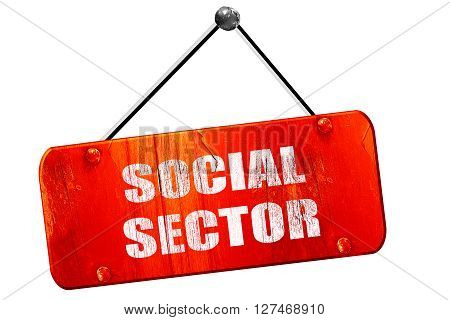 social sector, 3D rendering, red grunge vintage sign