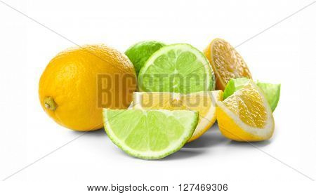 Sliced lime and lemon isolated on white