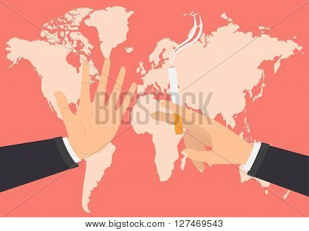 Businessman hand refusing the offered a cigarette for smoking on world map background. Vector illustration flat design World No Tobacco Day concept.