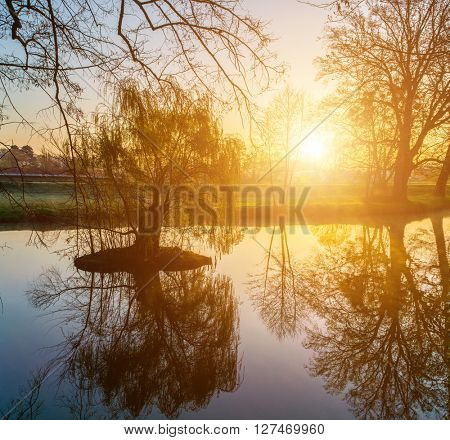 unrise over the small pond in the spring park