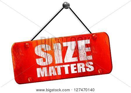 size matters, 3D rendering, red grunge vintage sign