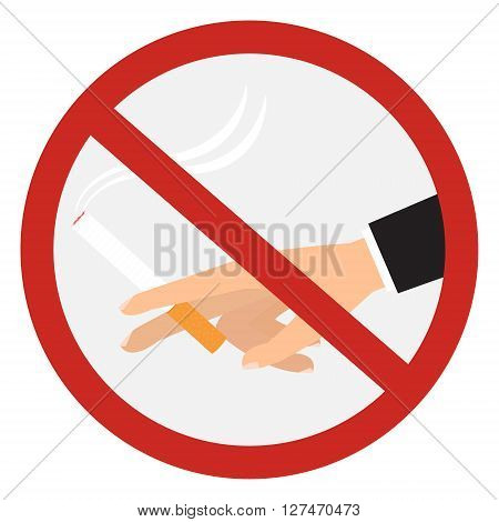 Human hand with cigarette in no smoking sign on white background. Vector illustration desing.