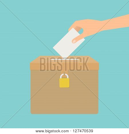 Human hand putting voting paper in the ballot box. Vector illustration flat design election concept.