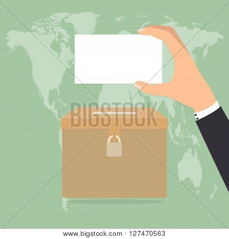 Human hand holding a voting paper for putting to ballot box. Vector illustration flat design election concept.