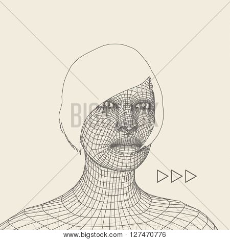 Woman. Head of the Person from a 3d Grid. Geometric Face Design. Polygonal Covering Skin. Vector Illustration.