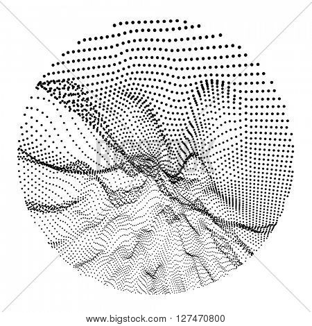 Wave Grid Background. 3d Abstract Vector Illustration. 3D Technology Style. Illustration with Dots. Network Design with Particle.