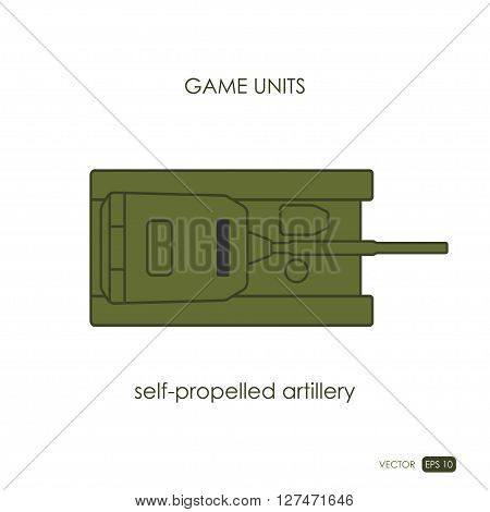 Self-propelled artillery on white background. Military icon. Game unit. Vector illustration