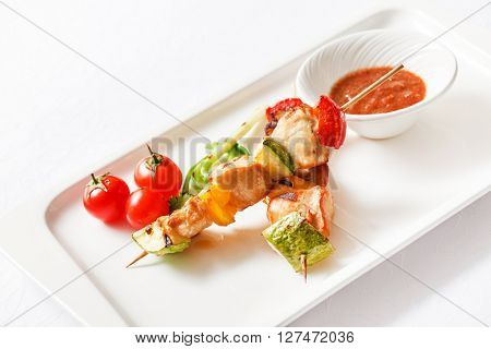 Skewered Chicken with vegetables