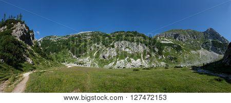 Panorama of Slovenian mountains with Mali Draski Vrh
