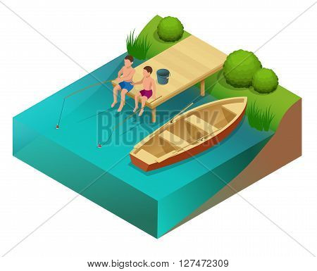 Little boys fishing in a river. Sitting on a wood pontoon. Flat 3d vector isometric illustration.