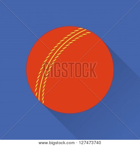 Cricket ball flat icon. Colored flat image with long shadow on green background. Cricket game equipment flat icons composition. Professional sport theme. Unique modern style. Vector concept.