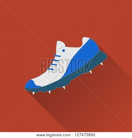 Cricket shoe flat icon. Colored flat image with long shadow on yellow background. Cricket game equipment flat icons composition. Professional sport theme. Unique modern style. Vector concept.