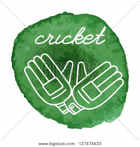 Cricket Game Icon On Watercolor Blot