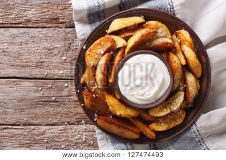 Potato Wedges And Mayonnaise On A Plate. Horizontal Top View