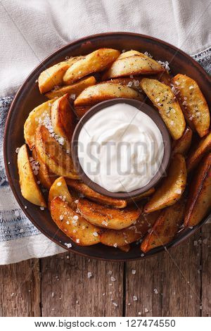 Tasty Potato Wedges With Mayonnaise On A Plate Closeup. Vertical Top View