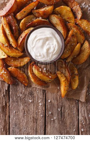 Fast Food: Potato Wedges And Mayonnaise. Vertical Top View