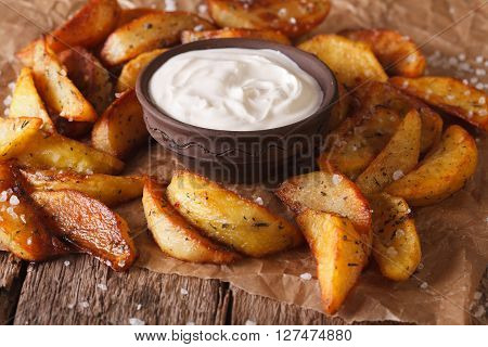 Baked Potato Wedges And Sauce Close-up On The Table. Horizontal