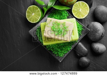 Spa set on wooden background
