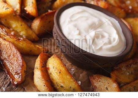 Tasty Hot Potato Wedges And Mayonnaise Close-up. Horizontal