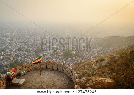 Overlooking the pink city of Jaipur from Nahargarh or Tiger Fort