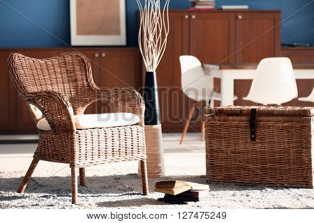 Design interior of living room with wicker chair
