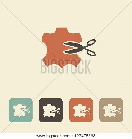 Vector illustration. Icon sewing leather. The symbol of needlework