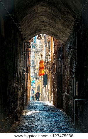 Street view of old town in Naples city, italy Europe