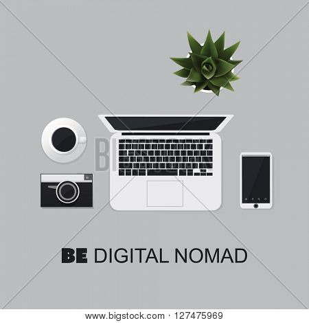Be Digital Nomad - Inspirational Quote, Slogan, Saying