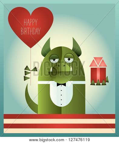 Vector illustration of a green monster with tuxedo top and bow tie, standing and holding heart shaped balloon and a gift. Retro styled greeting card with text