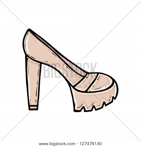 Beautiful hand drawn women's high heel shoes. Fashionable women's shoes. Beauty trend. Sketch illustration. Vector isolated objects.