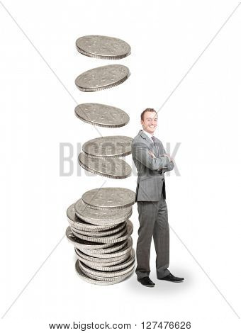Happy businessman earning a lot of money