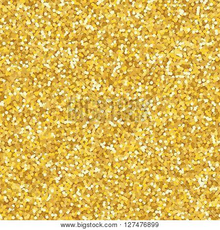 Golden glitter texture seamless pattern, sparkle vector background
