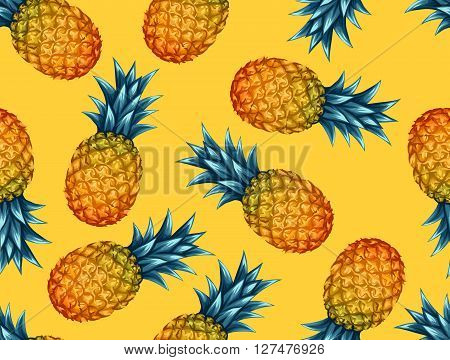 Seamless pattern with pineapples. Tropical abstract background in retro style. Easy to use for backdrop, textile, wrapping paper, wall posters.
