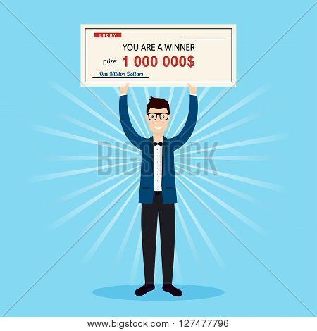 Happy man holding large check of one million dollar in hands. Colorful Vector Illustration.