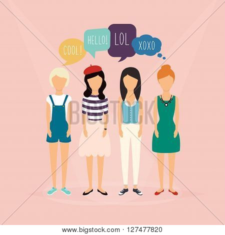 Four Girls Communicate. Speech Bubbles With Social Media Words. Vector Illustration Of A Communicati