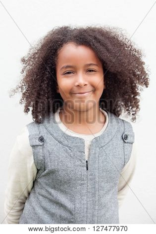 Pretty girl eight years old with beautiful afro hair