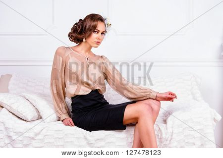 Pretty Woman wearing elegant trendy fashion clothes