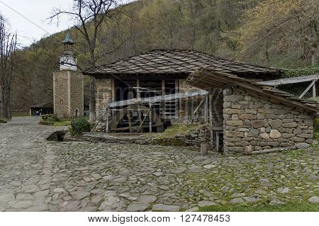 Water flour-mill with mill-wheel and clock tower, Ether, Gabrovo, Bulgaria