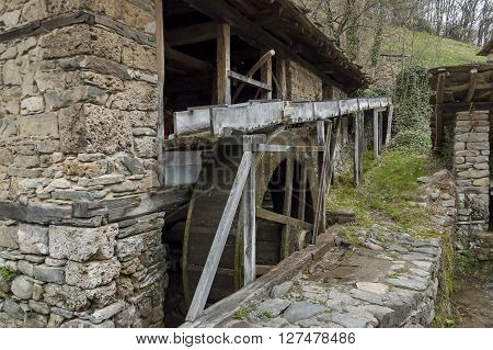Close up view of water flour-mill with mill-wheel, Ether, Gabrovo, Bulgaria