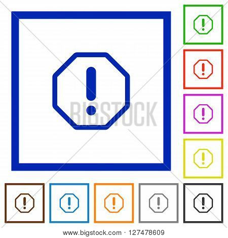 Set of color square framed error flat icons on white background