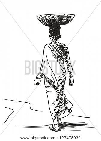 Indian woman carrying basket on head, Hand drawn sketch, Vector illustration
